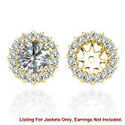 White SI2 Diamond Halo Solitaire Stud Womens Earrings Jackets 14K Yellow Gold 4