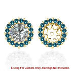 Blue SI2 Diamond Solitaire Halo Bridal Women Earrings Jackets 14K Yellow Gold