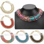 1pc Women Metal Braid Crystal Rhinestone Ball Cotton Golden Chain Party Necklace
