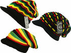ITZU Co. Head wear RASTA Reggae Knitted Slouch Over Sized + Peak Beanie Cap Hat