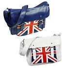 GB Union Jack Faux Leather Satchel Messenger Cross Body Shoulder Sling Bag