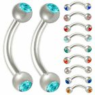 2P Steel Curved crystal gem eyebrow bars ring barbell piercing 9CQE-SELECT COLOR