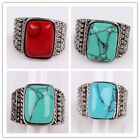 Hot Women Mens Tibetan Silver Rectangle Turquoise Ring Jewelry In 3 Color 2 Size