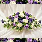 SILK WEDDING FLOWERS LARGE TOP TABLE ARRANGEMENT FOAM ROSES PURPLE LILAC & IVORY