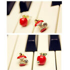 5pairs/lot Fashion Jewellery Red/Green Crystal Apple Stud Earring