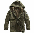Men's Airborne Division Warm Jacket Military Cotton Fleece Hooded Outerwear Coat