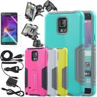 For Samsung Galaxy Note 4 Hybrid Dual Layer Case Cover w / Kickstand Accessories