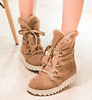 5 Colors Women's Ladies Winter Lace Up Snow Shoes Low Heels Ankle Grace Boots Sz