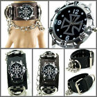 UK4130 Shiny Steel Cross Punk Watch Rock Men/Lady Heavy Ring n Chain Leather