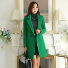 Brand New Womens Tailored Collar OL Bussiness Long Jacket Trench Coat Wool Blend