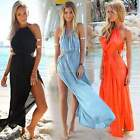 New Womens Summer Boho Halter V-Neck Long Maxi Evening Party Dress Beach Dress