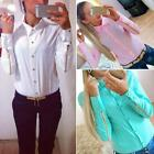 Lapel Candy Colors Rivet Buttons Sleeves With Zipper Chiffon Shirt Top