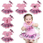 VALENTINE pink jumpsuit bodysuit plaids checks baby dress girl clothing NB-12M