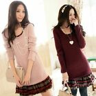 Womens Plaid Check Splice Mini Dress Knit Loose Long Sweater Jumper Tops Blouse