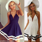 Elegant Lady Summer Beach Strap Sleeveless Party Cocktail Fitted Knee Mini Dress