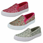 H2325- Girls Synthetic Slip On Glitter Shoes- Pumps Style 2 Colours Pink&Multi!