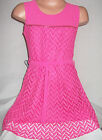 GIRLS CERISE PINK  ZIP TRIM LACE CHIFFON SWING PARTY DRESS with TIE BELT