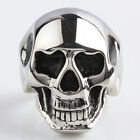 Modern Skull Head Black Band Goth Punk Chic Rock Style Stainless Steel Ring Gift