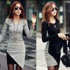 Sexy Womens OL Long Sleeve Stretch Bodycon Pencil Plain Short Mini Dress UK 8-20