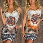New Summer Retro Flower Print Sexy Womens Sleeveless Slim Short Mini Dress Hot