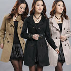 New Women Double Breasted Slim Fit Long Trench Coat Jacket Parka Outwear Top
