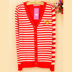 Cute Striped V Neck Embroidery Womens Cardigan Sweater Knitwear Outwear Top 6999
