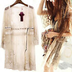 Boho Beach Crochet Lace Floral Chiffon Long Cardigan Blouse Top Coat Mini Dress