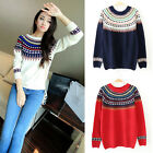 Womens Fashion Winter Crew Neck Sweatshirt Pullover Jumper Sweater Pullover Tops
