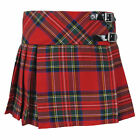 Girls Tartanista Scottish Red Royal Stewart Tartan Kilt Skirt Leather Straps