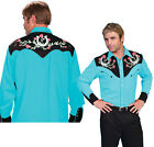 P-660ds Rockabilly Scully Western Cowboy Shirt 2-tone Turquoise Roses Horse shoe