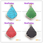 NEW pretty freefrom beads silver pendant 37x55mm FREE gift box +chain for women