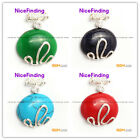 nicefinding 24x30mm oval beads siver pendant 30x37mm 1 pcs FREE gift box +chain