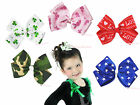 Bunny Star Clover  Love Camouflage Pattern Ribbon Bow Girl Hair Clip Accessory