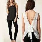 Korean Womens Casual Chiffon Tops Sleeveless Shirt Backless Blouse Vest T-shirt
