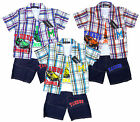 Boy's 3 Piece Sports Car Check Shirt, Vest Top & Shorts Set 2-10 Years NEW