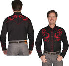 P-830ds Scully Western Cowboy Retro Snap Shirt Dragon Embroidered Black Stage