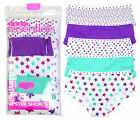 Girls 5 Pack Patterned Cotton Hipster Briefs Knickers Underwear 5-13yrs NEW