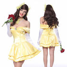 Beauty Beast Princess Belle Low Strapless Satin Fancy Dress Party Cosplay Outfit