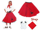 4 pc Girls Poodle Skirt Outfit (1950s Retro Cateye Glasses- Socks-Scarf Costume)