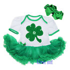 Baby St Patricks Day Shamrock White Green Romper Bodysuit Tutu Party Dress 0-18M