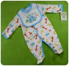 NWT CARTERS ORGANIC COTTON SLEEPER+BIB~ANIMALS~BABY BOYS GIRLS NEWBORN +3 months