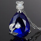 Stunning! Pear Cut Blue Sapphire 18K Gold Plated Pendant Necklace Chain Lady