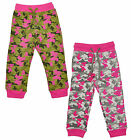 Girls Army Camo Pink Khaki Camouflage Jogging Pants Joggers 2-6 Years NEW