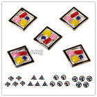 10/50pcs Charms Plated UV Gold Acrylic Mixed Color Enamel Geometry Spacer Bead-C
