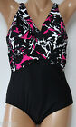 *NEW INC International Concepts Black Pink Swimsuit Maillot 10 12 14 18 20 INC8