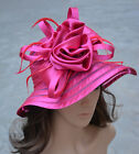 A214 Womens Church Wedding Kentucky Derby Satin Ribbon Feather Floral Sun Hats  <br/> 7~12 business days deliver to USA.
