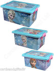 Disney Frozen Plastic Storage Box Container with Lid Stackeable Anna Elsa