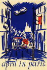 Spring April in Paris France French Travel Tourism Vintage Poster Repro FREE S/H