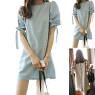 New Woman Dress Loose Single-breasted Back Bowknot Puff Sleeve Soft Hot Sale