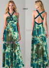 Donna Bella Floral Print Halter Summer Holiday Beckless Party Multis Maxi Dress